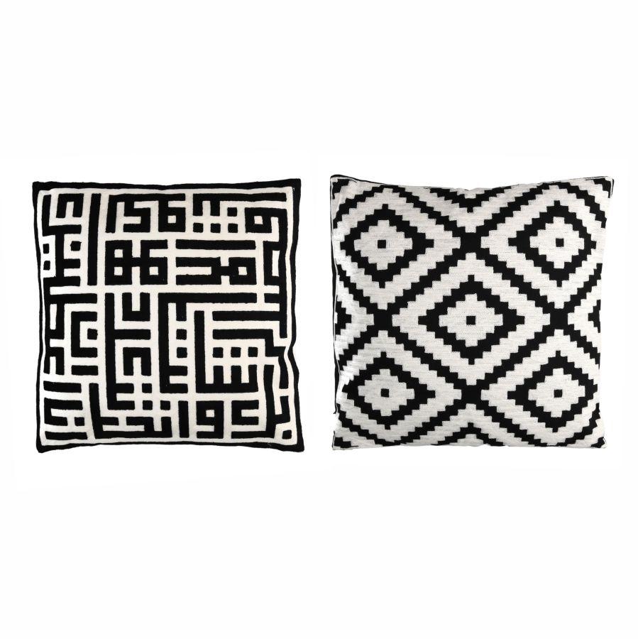 Cuscini Bianchi E Neri coppia cuscini 45x45 disegni geometrici bianco e nero