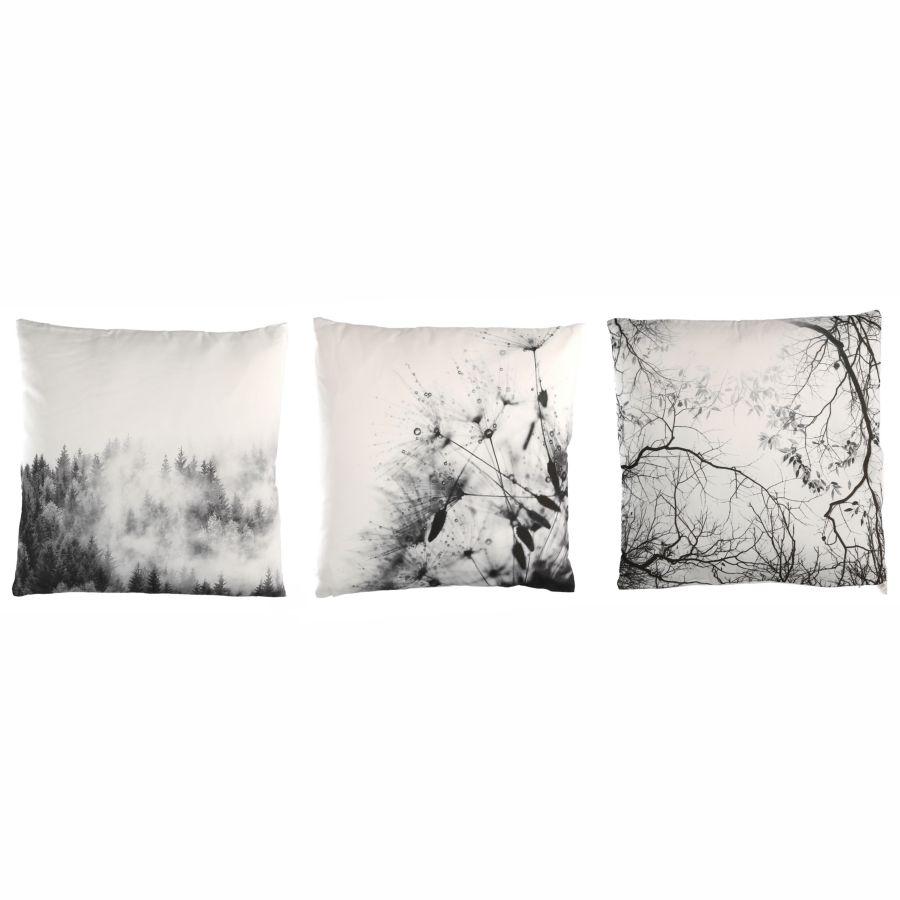 Cuscini Bianchi E Neri set di 3 cuscini in bianco e nero con disegni inverno