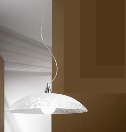 Lampadario bianco diametro 50 decoro fiori jacaranda antea luce - Lampadari in cucina ...