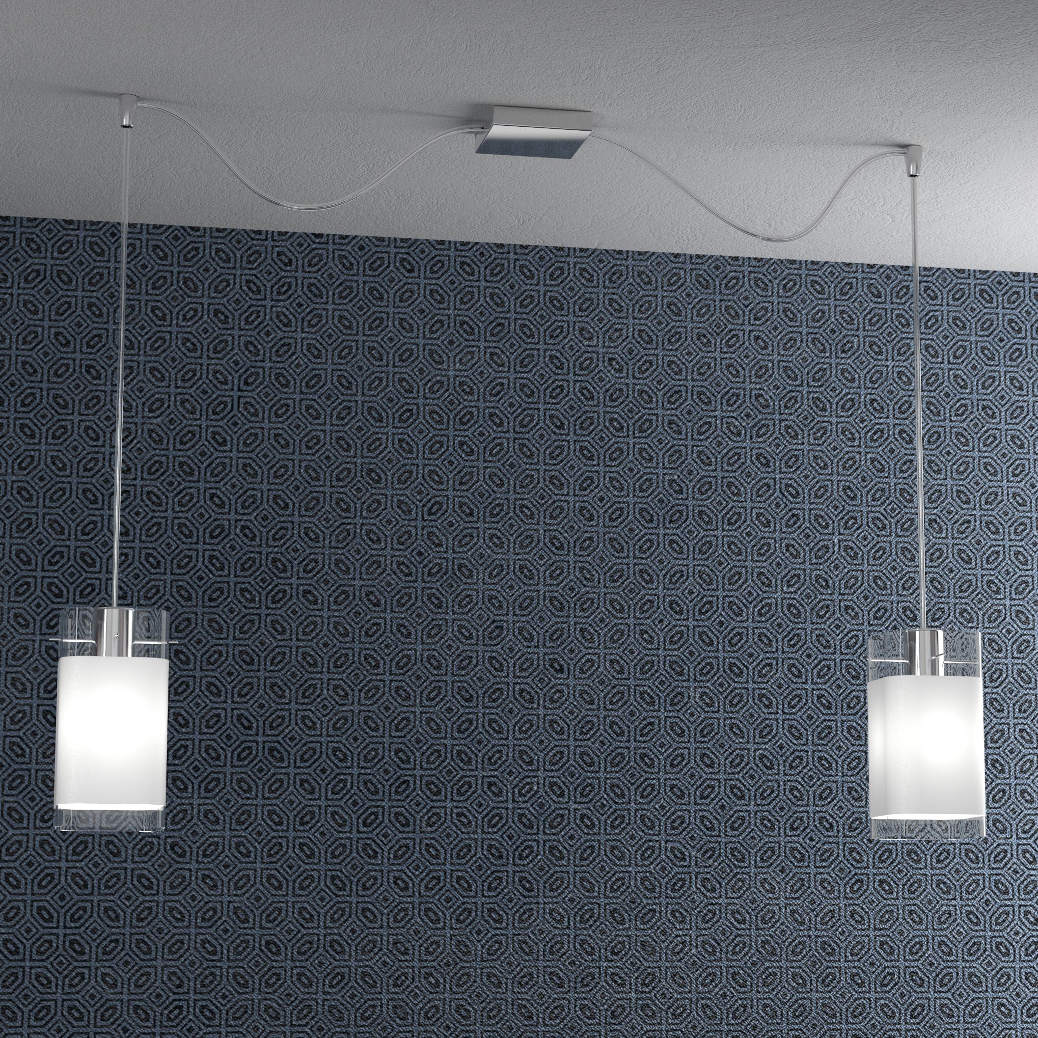 Lampadario Con Punto Luce Decentrato lampadario moderno 2 luci vetro quadrato