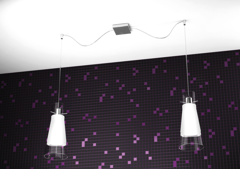 Lampadario Con Punto Luce Decentrato lampadario moderno 2 luci vetro cono