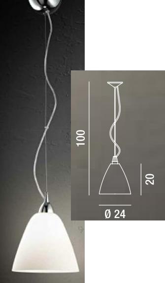 Lampadario 24cm sospensione vetro satinato