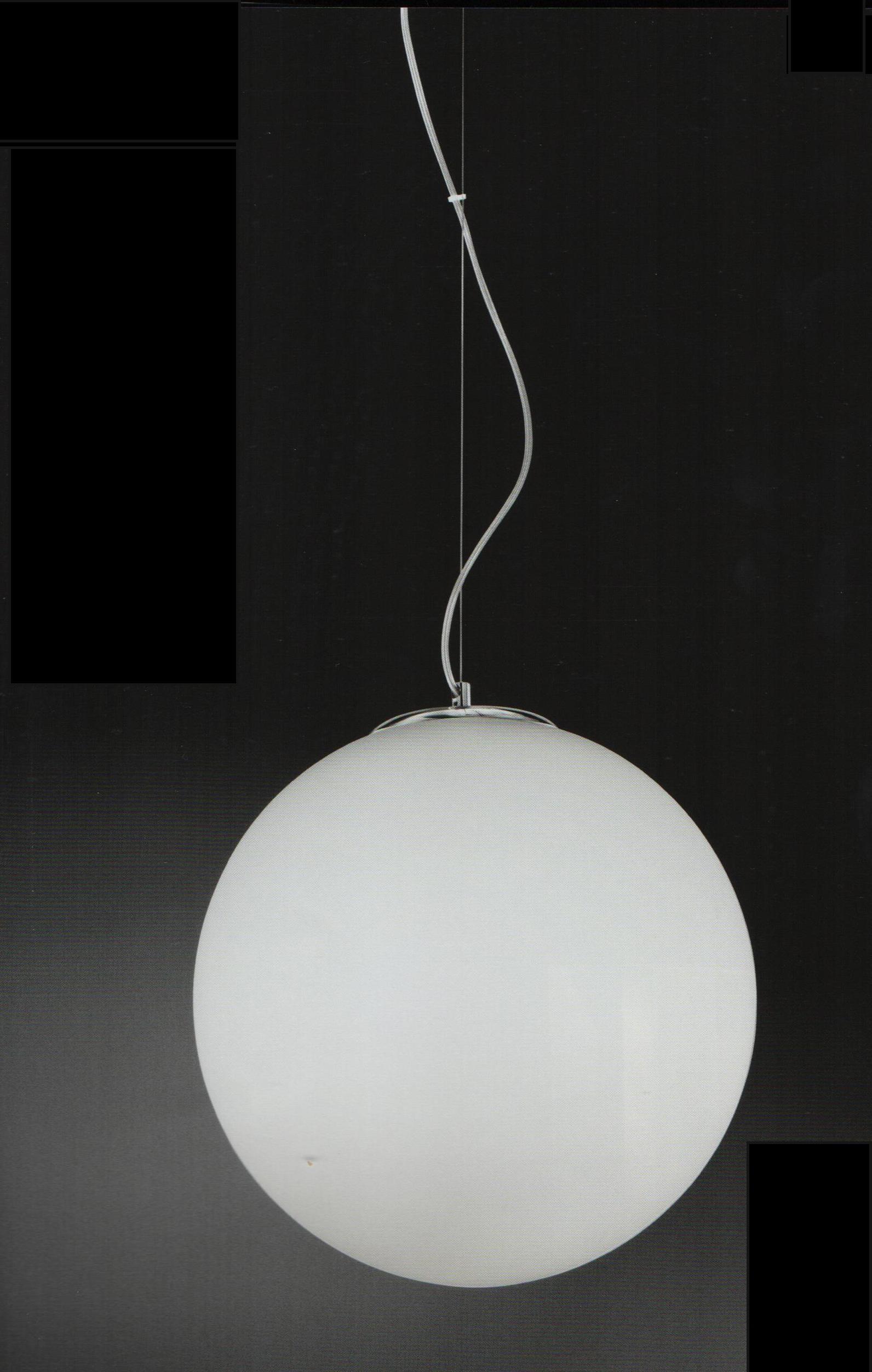 Lampadari A Palla Moderni.Lampadario A Sfera Bianco Latte 40cm 2 Lampadine