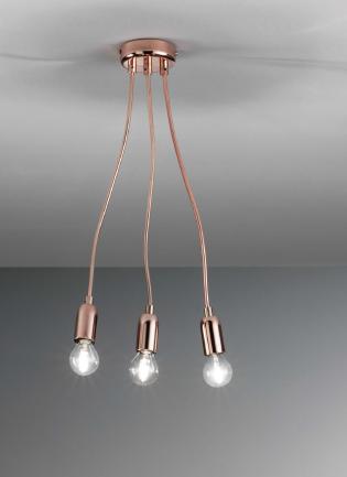 Plafoniera applique 3 luci rame modellabile 33707 luci moderne for Luci da interno a led