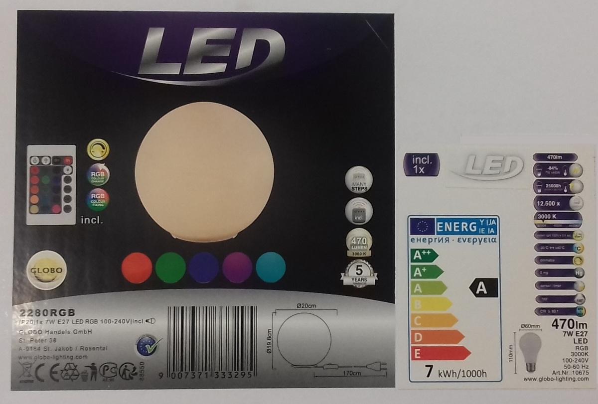 Lampada led tavolo cambia colore globo lighting 2280rgb idea luce di