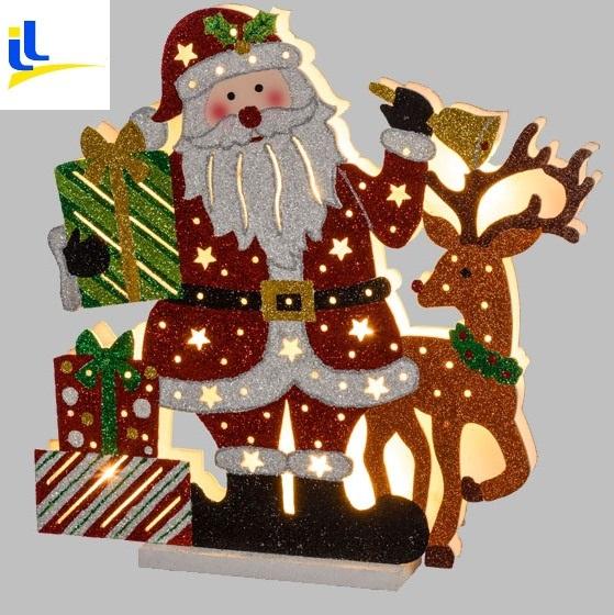 Decorazioni Natalizie A Led.Babbo Natale Led Con Renna E Regali Uso Interno Natale Luci E Colori 42568a Idea Luce Di Filippi Carru Cuneo