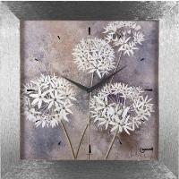 Orologio parete fiori bianchi cornice grigia 60x60 11963 LOWELL