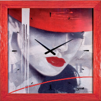 Orologio parete viso donna particolari rossi 80x80 11740 LOWELL