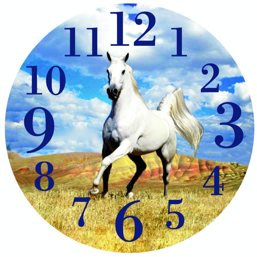 44a1051c31 Orologio parete cavallo bianco con paesaggio 30cm