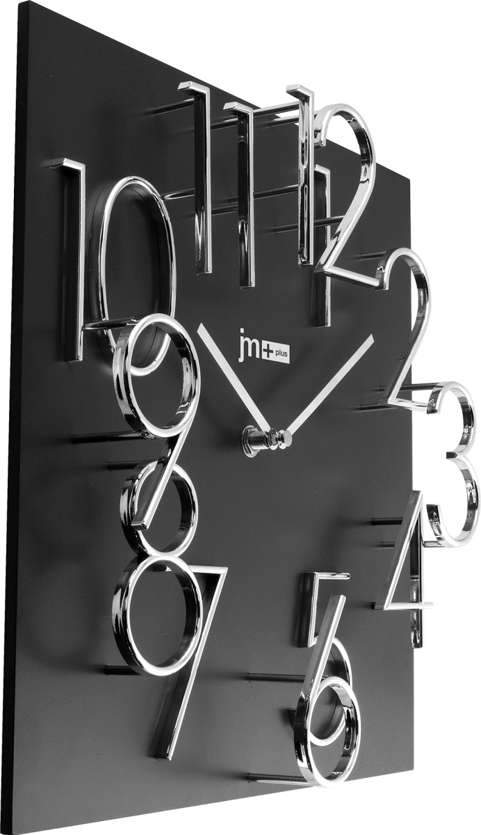 Orologio da parete quadrato nero numeri rilievo 14535n lowell for Foto orologio da parete