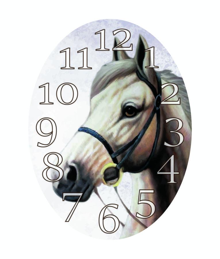 df7b2b6175 Orologio parete ovale cavallo bianco h.cm58