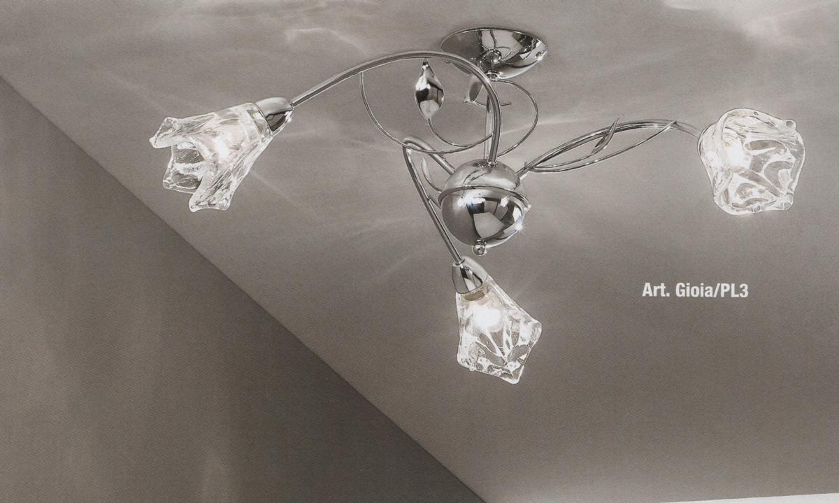 Plafoniere Con Vetro Trasparente : Plafoniera luci cromata vetro trasparente due p gioia pl idea