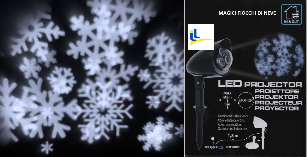 Proiettore Luci Natalizie Effetto Neve.Proiettore Effetto Cristalli Di Neve Led