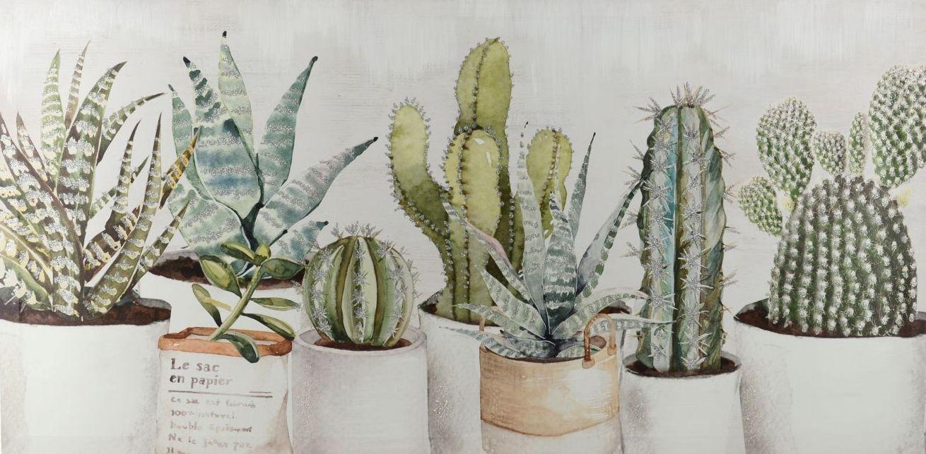 Quadro Piantine Grasse E Cactus 100x50 Colori E Luci 38051 Idea Luce