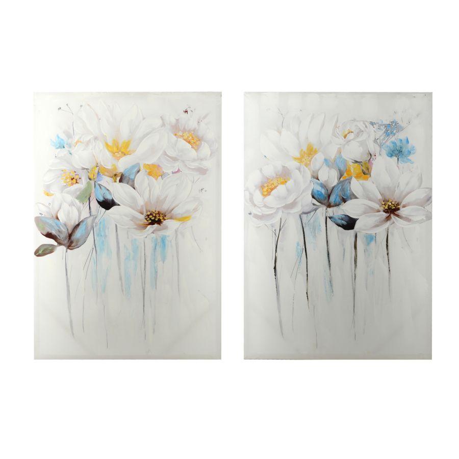 Coppia quadri con fiori bianchi azzurri 70x100