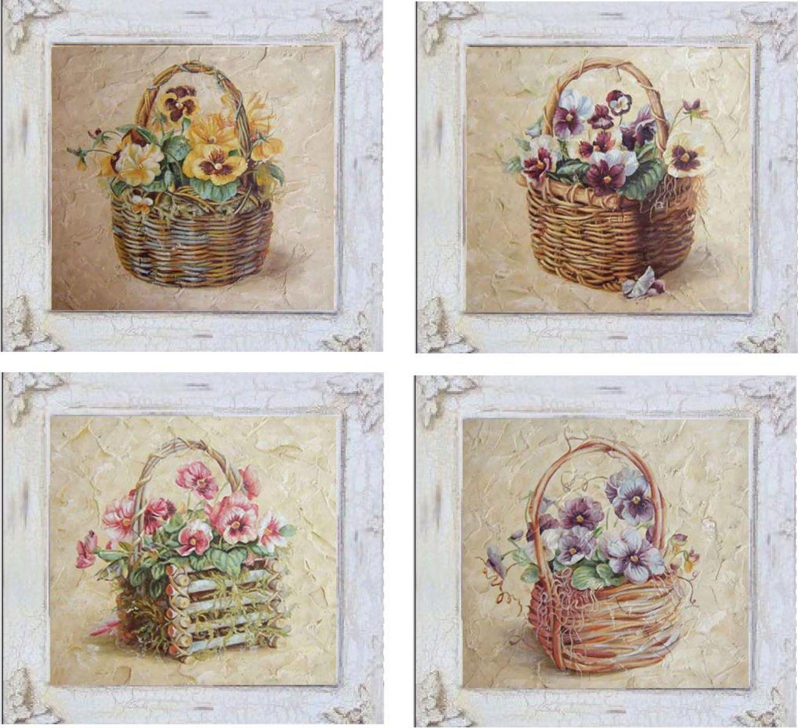 Set 4 quadretti cestino fiori 38x38 31651 idea luce di - Quadretti per cucina ...