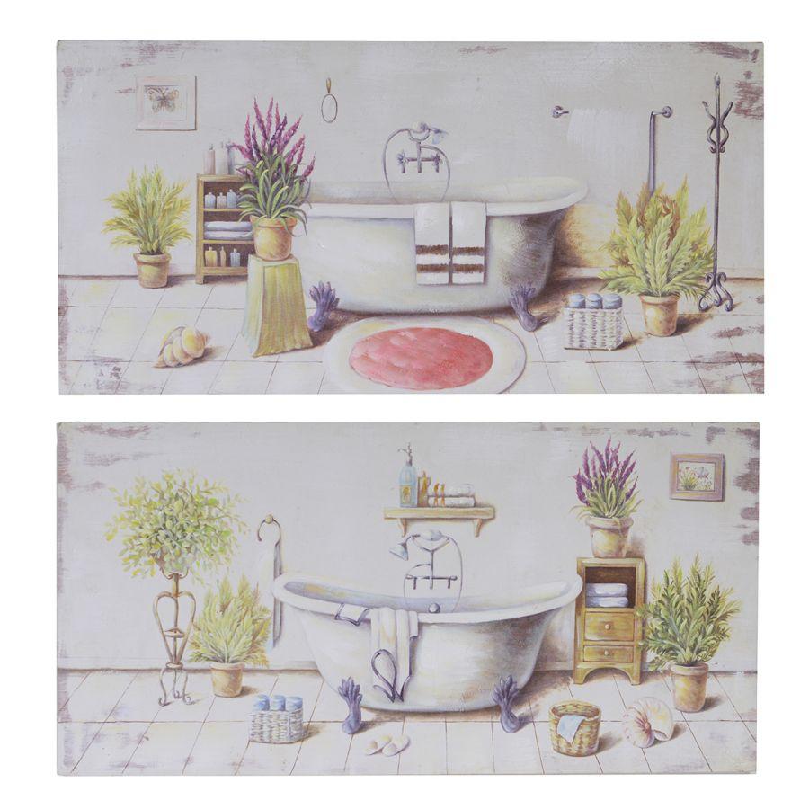 Set 2 quadri 80x40 vasca da bagno e piante 37646 - Quadri da appendere in bagno ...