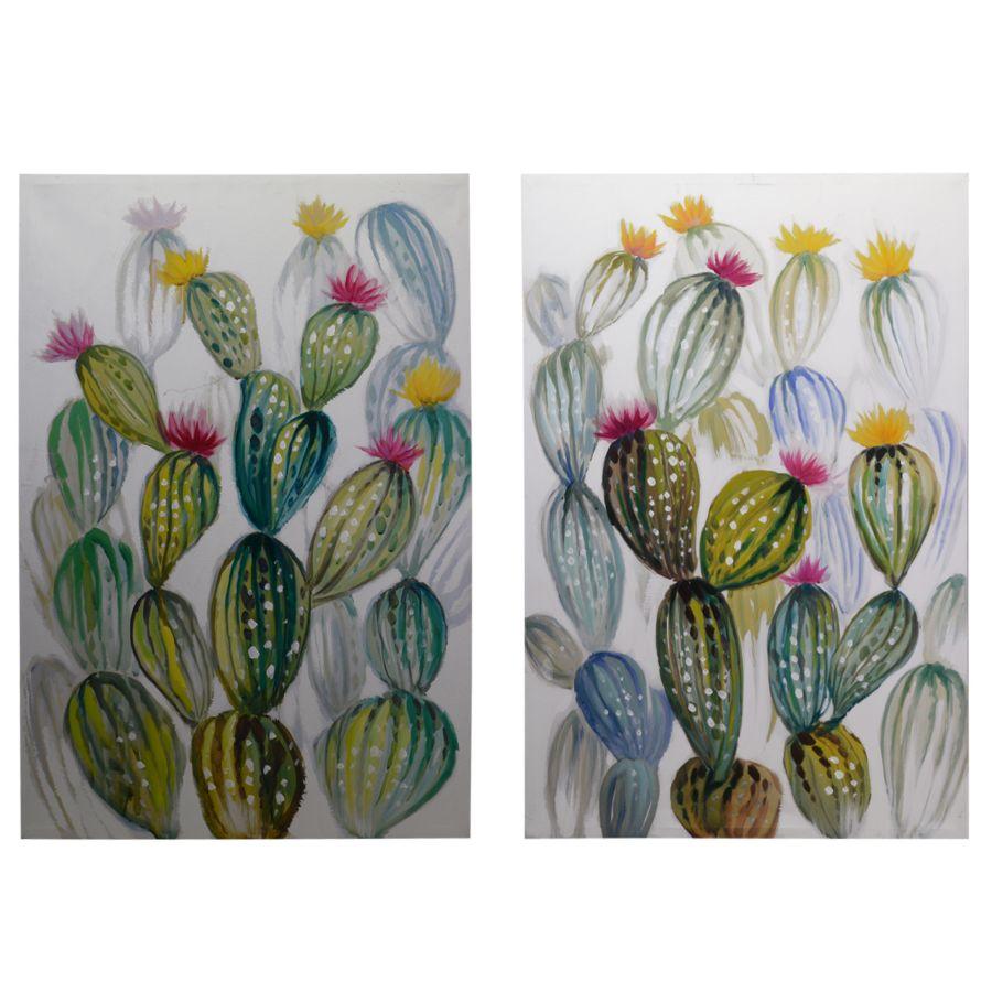 Set 2 Quadri 60x90 Cactus Fioriti Sfondo Bianco Colori E Luci 37279