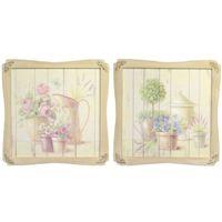 Set 2 quadri 59x59 fiori cornice sagomata  37325