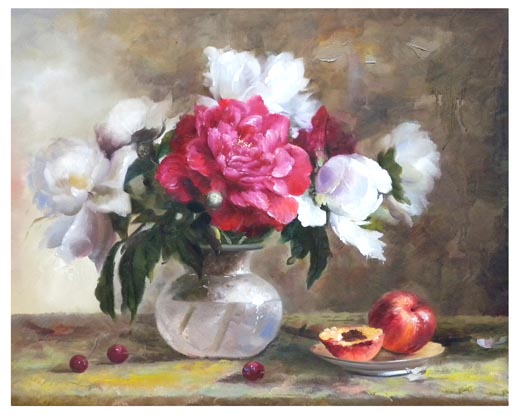 Quadro 50x60 vaso fiori bianchi fucsia w 306 idea luce di for Quadri di fiori
