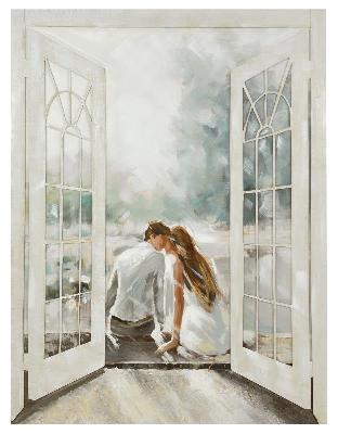Quadro innamorati finestra 90x120 36953 colori e luci - Quadro finestra ...