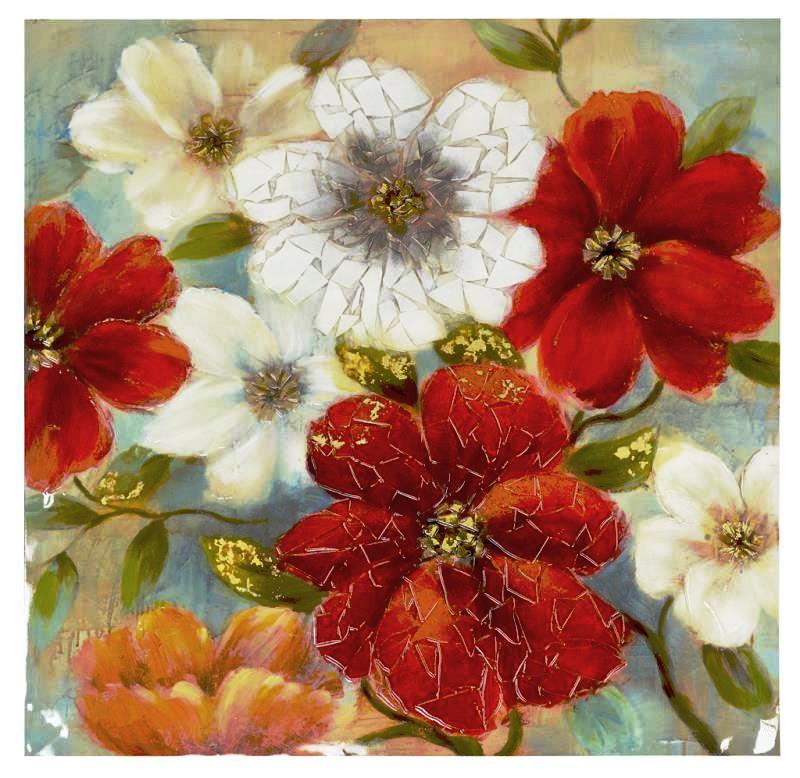 Quadro materico fiori rossi e bianchi 100x100